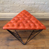Tufted Leather Geometric Ottoman