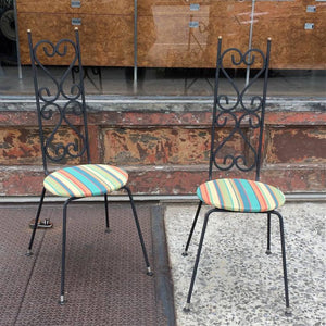 High Back Wrought Iron Scroll Patio Chairs