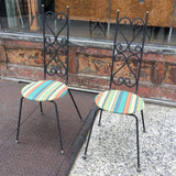 Pair of High Back Wrought Iron Scroll Patio Chairs