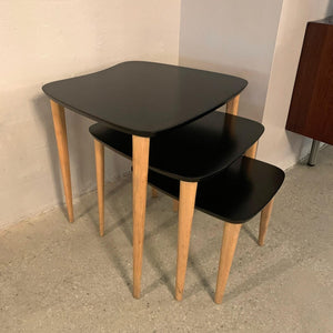 Mid Century Modern Black Lacquered Biomorphic Nesting Tables