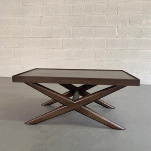 Mid-Century Modern Mahogany X-Base Coffee Table