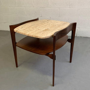 Travertine and Walnut Side Table by Bertha Schaefer