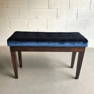 Hollywood Regency Velvet Tufted Piano Storage Bench
