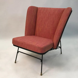Mid Century Modern Wrought Iron Wingback Chair