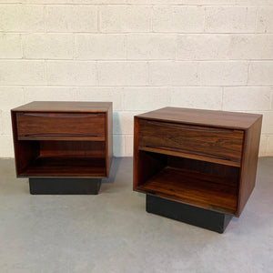 Mid Century Modern Rosewood Cube Nightstands