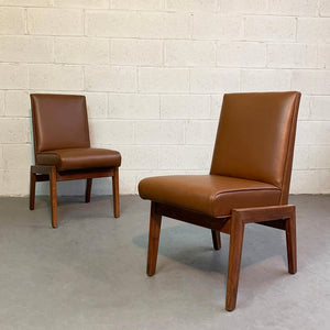 Mid Century Modern Walnut And Naugahyde Chairs By Jens Risom
