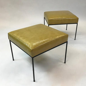 Custom Wrought Iron And Leather Ottomans