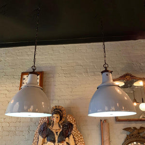 Pair of Large Industrial Enameled Steel Dome Factory Pendant Lights