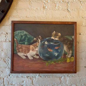 Small Naive Acrylic Painting Of Curious Kittens Around A Fishbowl