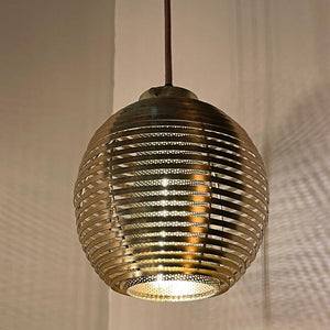 Mid Century Modern Brass-Plated Slat Globe Pendant Light