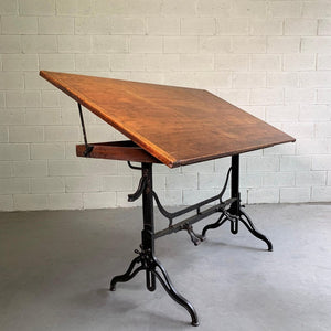 Antique Industrial Adjustable Drafting Table By J.G. & J.N. Alexander, 1984
