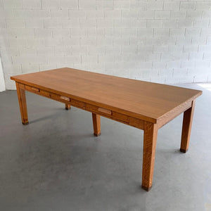 Large Industrial Oak Library Work Dining Table