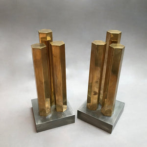 Modernist Brass Steel Andirons