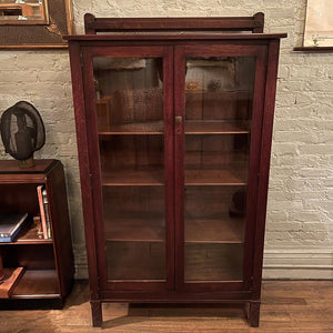 Arts And Crafts Oak Bookcase Display Cabinet