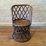 Hollywood Regency Braided Brass Drum Chair By Sarreid