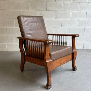 Craftsman Oak And Leather Recliner Armchair