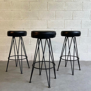 Mid Century Modern Wrought Iron Upholstered Bar Stools