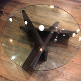 Sculptural Oak And Glass Coffee Table