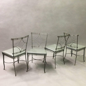 Hollywood Regency Brushed Steel Wire Dining Chairs