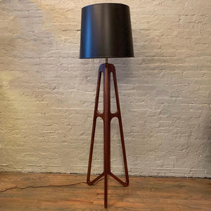 Custom Mid-Century Modern Walnut Butterfly Floor Lamp