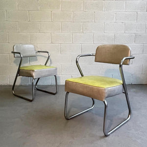 Art Deco Tubular Chrome Armchairs By KEM Weber