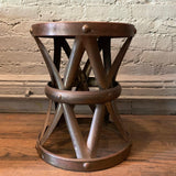 Hollywood Regency Brass Drum Stool Side Table By Sarreid Ltd.