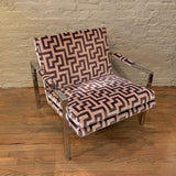 Milo Baughman Flat Bar Chrome Upholstered Lounge Chair
