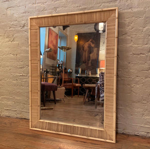 Midcentury Bamboo Motif Wall Mirror Attributed To Paul Frankl