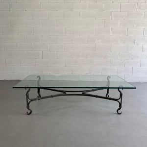 Large Gothic Artisan Hand-Wrought Iron And Glass Coffee Table