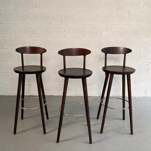 Danish Modern Walnut Bar Stools For Gunnar Schwartz Company