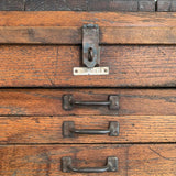 Large Antique Industrial Oak Machinist Tool Chest Cabinet