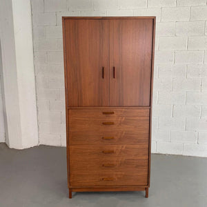 Mid Century Modern Walnut Armoire Gentleman's Chest