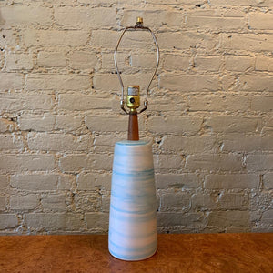 Mid Century Modern Art Pottery Swirled Light Blue Table Lamp By Gordon Martz
