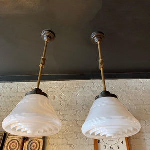 Pair Of Industrial Art Deco Milk Glass Cone Pharmacy Pendant Lights