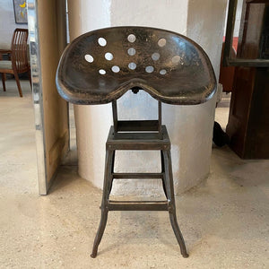 Industrial Steel Tractor Artist Made Stool
