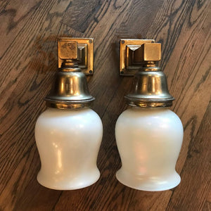 Opaline and Brass Sconces
