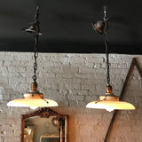 Curved Milk Glass Factory Pendant Lights