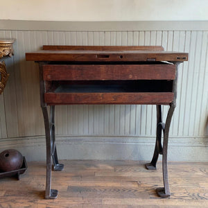 Industrial Maple And Cast Iron Jeweler's Work Bench