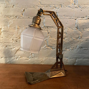 Arts & Crafts Cast Iron Table Lamp with Frosted Glass Shade