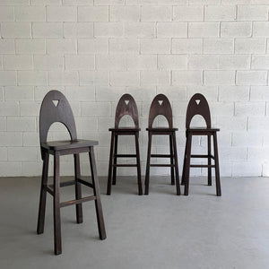 Ebonized Oak Mission Bar Stools