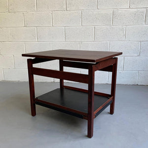 Danish Modern Teak And Leather Side Table