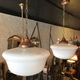 Art Deco Milk Glass and Copper Library Pendant Lights