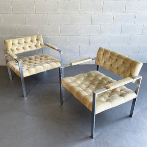 Pair of Chrome And Velvet Lounge Chairs By Erwin-Lambeth