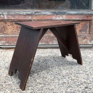 Primitive Art Deco Pine Bench