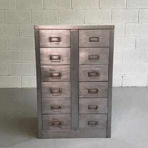Mid Century Industrial Brushed Steel Office Filing Cabinet