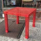 Red Steel Mesh Table