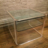 Lucite and Glass Side Table