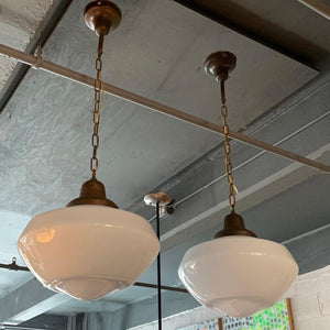 Pair Of Large Milk Glass Library Pendant Lights
