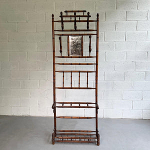 Antique Oak Bamboo Motif Entryway Hall Tree Coat Rack