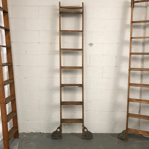"Industrial Rolling ""Majors Cement"" Oak Ladder by Putnam"